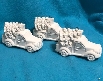 Set of 6 Classic Pickup Truck with Tree Ornaments with hooks in Ceramic Bisque ready to paint and hang