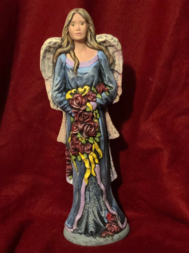 Dry Brushed Ceramic Angel with Roses using Mayco Softee Stains