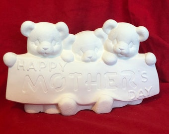 Clay Magic Mother's Day Bears in ceramic bisque ready to paint by jmdceramicsart