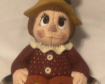 Ceramic Scarecrow dry brushed using Mayco Softee Stains by jmdceramicsart