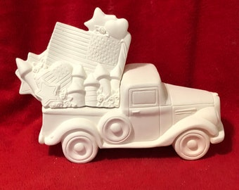 New Clay Magic Jalopy Pickup Box with Patriotic Lid in ceramic bisque ready to paint by jmdceramicsart
