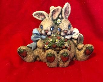 Ceramic dry brushed Strawberry Bunnies