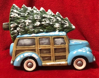 Ceramic Dry Brushed Old Time Woody with tree, snow and glitter using Mayco Softee Stains by jmdceramicsart
