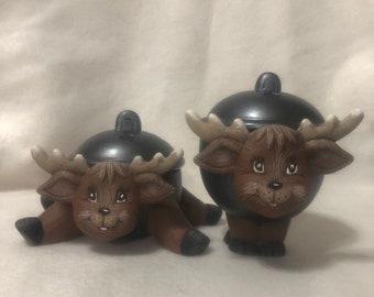 Ceramic Reindeer Trinket Boxes (Set)