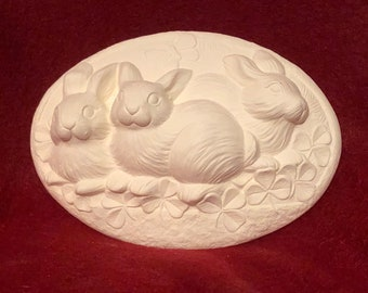 Set of 2 Ceramic Rabbit Inserts in bisque ready to paint
