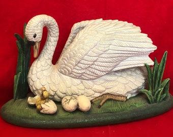 Dry Brushed ceramic Swan with newborns