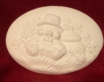 Set of 2 Ceramic Bear Leprechaun Inserts in bisque eeady to paint