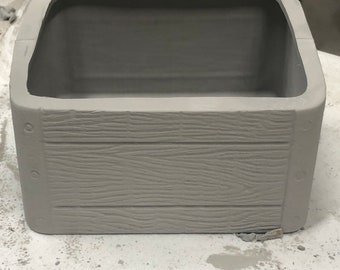 Mayco's New Wooden Crate Lid in ceramic bisque ready to paint by jmdceramicsart bisque pic on way