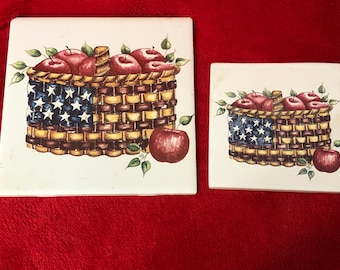 Set of 2 Glazed Ceramic Tiles with Decals