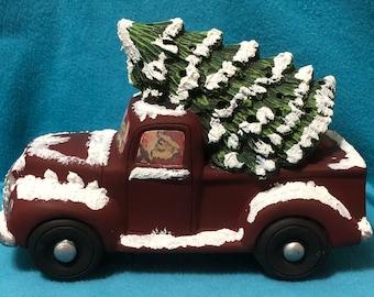 Santas Classic Pickup with Tree Ceramic Art
