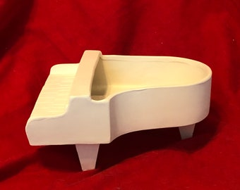 Baby Grand Piano Candy Dish in ceramic bisque ready to paint