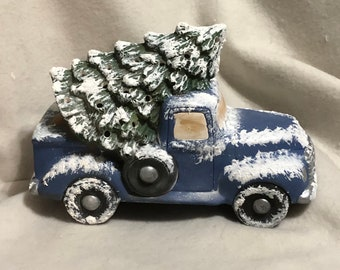 Blue Ceramic Classic Pickup and Tree with snow and holes for lights