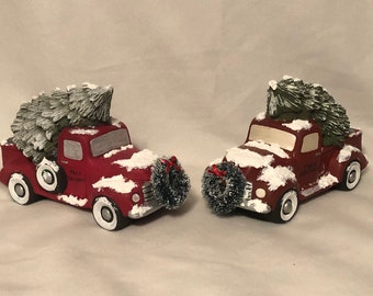Classic Red Pickup with tree Set of 2 by jmdceramicsart