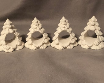 Christmas Tree Napkin Rings Ceramic Bisque set of four ready to paint