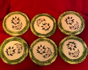Set of 6 Ceramic Matte Glazed and dry brushed Coasters by jmdceramicsart