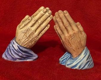 Set of 2 Dry Brushed Ceramic Praying Hands