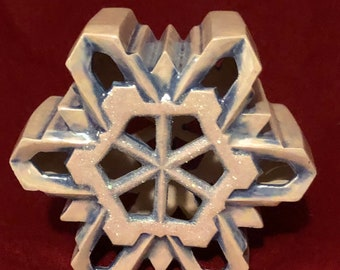 Glazed Mother of Pearl with glitter Small Ceramic Snowflake with cut outs for light by jmdceramicsart