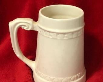 Milk Glass Glazed Ceramic Stein