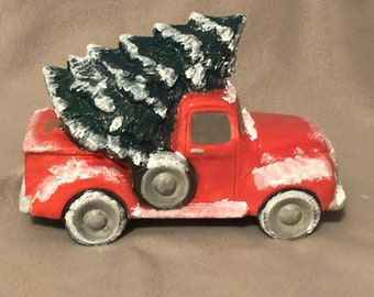 Ceramic Old Time Pickup Truck with Tree and Snow