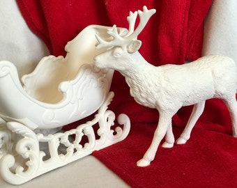 Ceramic Scioto Molds Victorian Sleigh and Reindeer in bisque ready to paint