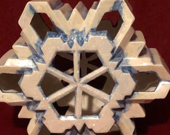 Glazed Mother of Pearl with glitter Large Ceramic Snowflake with cut outs for light by jmdceramicsart