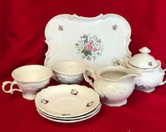 Rare Vintage 9 piece glazed Tea Set with floral decals