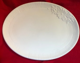 Vintage Decorative Floral Serving Plate in ceramic bisque ready to paint