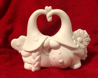 Ceramic Sweetheart Gnomes without holes in bisque ready to paint