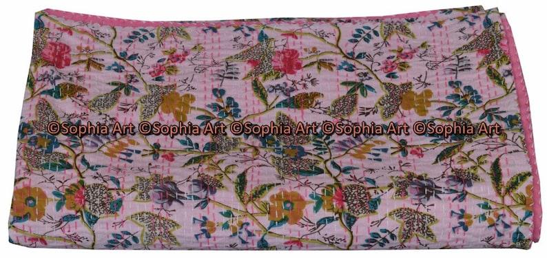 Indian Twin Gudri Handmade Quilt Vintage Orange Bird Of Paradise print Kantha spread Throw Cotton Blanket