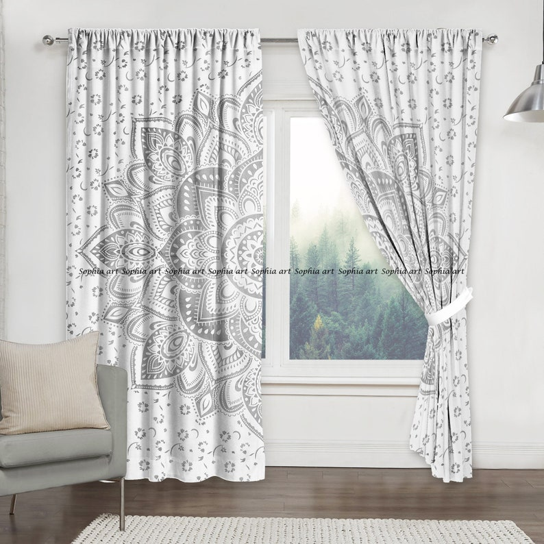 White Sliver Flower Ombre Mandala Curtain Kitchen Window Curtains Dorm Tapestry Balcony Room Curtain Boho Set Hippie Curtain Panel
