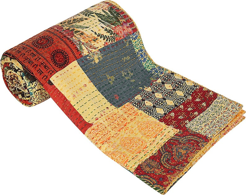 Indian Traditional Handmade Patchwork Antique Quilted patchwork Throw Twin Kantha Quilt Ralli Bohemian Blanket Throw Bedspread Quilt