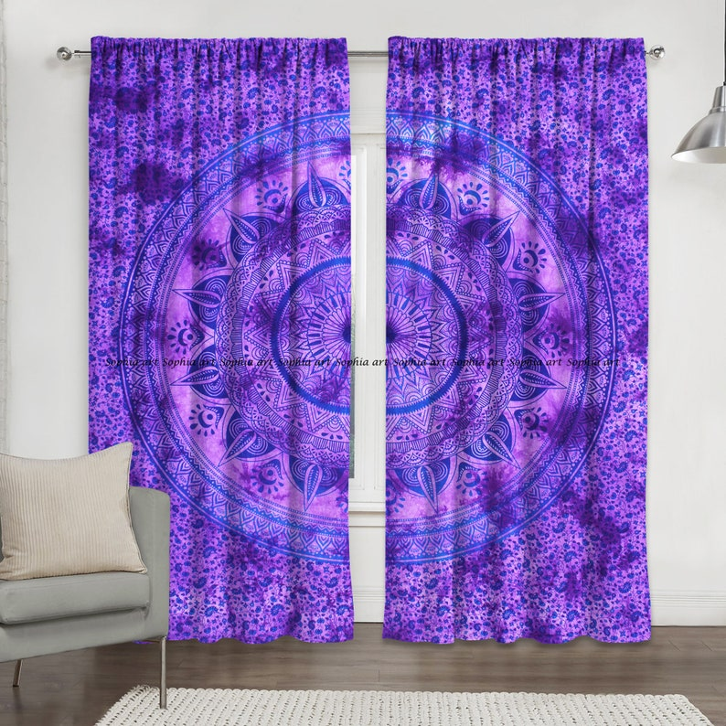 Lotus Meditation Buddha Room Door Wall Drapes Window Balcony Curtains Cotton