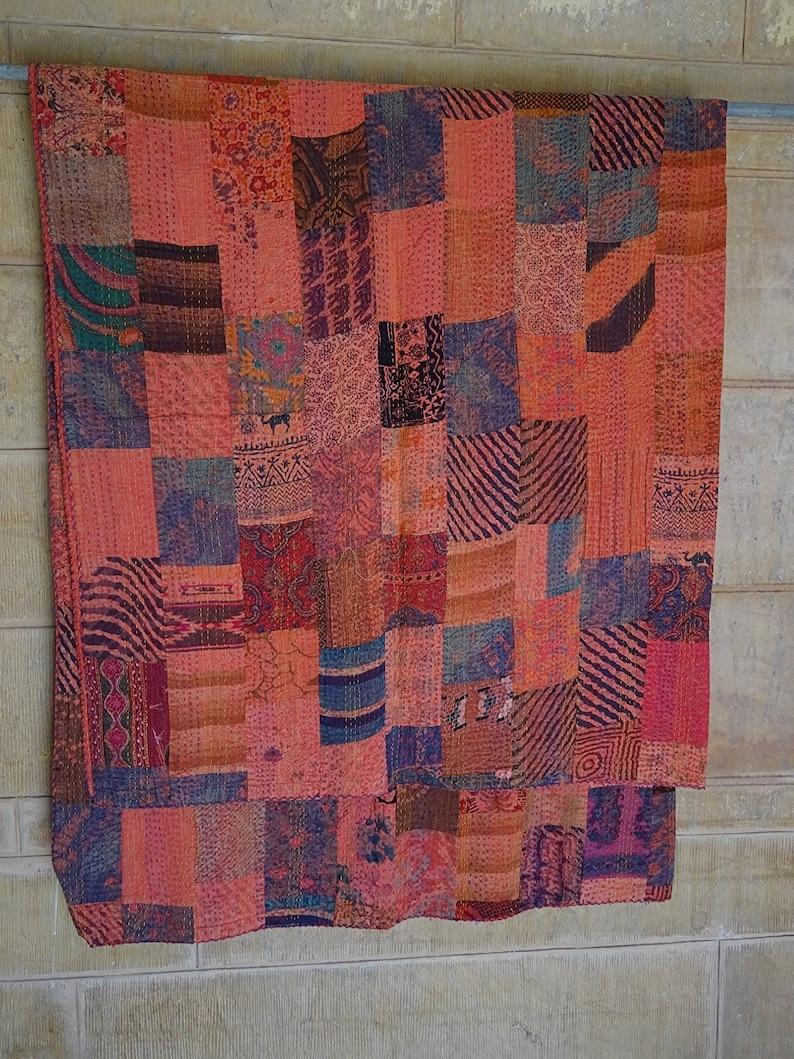 Indian Handmade Cotton Kantha Quilt Patchwork Floral Print Throw Bedspread Twin