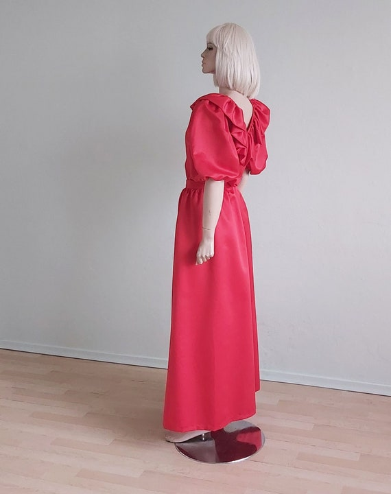 Vintage Red Satin Puff Sleeve Ruffles Dress Set Lo