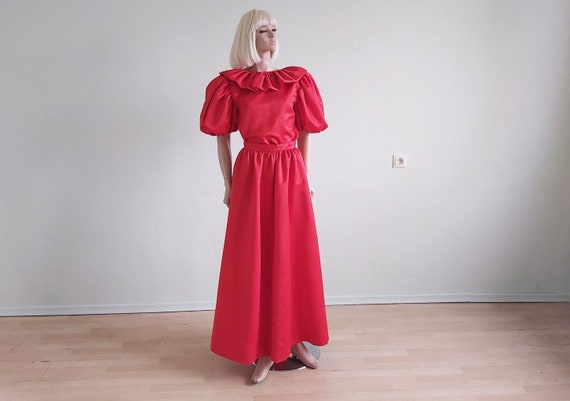 Vintage Red Satin Puff Sleeve Ruffles Dress Set Lo