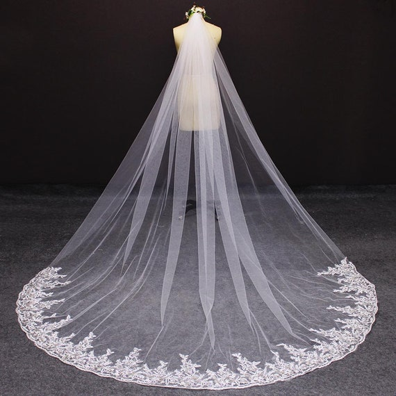 2 Layer Elbow Wedding Veil with Comb Lace Appliques Sequins Bride Voile Mariage