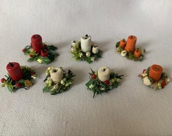 Dollhouse Miniature Candle Centerpiece, 1:12 Scale, Holiday mini, mini centerpiece, dollhouse holiday, dollhouse decor