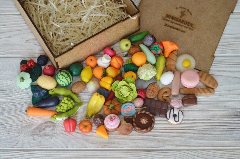 Miniature vegetables Polymer clay food Montessori toys Sensory toys Play kitchen Dollhouse play food Fake vegetables Preschool activities