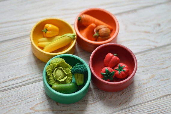 Sorting Toy Colors Sorting Set Wood Bowls Miniature Vegetables Montessori Toddler First Birthday Gift Travel Toy Sensory Toy Preschool Toys by Etsy