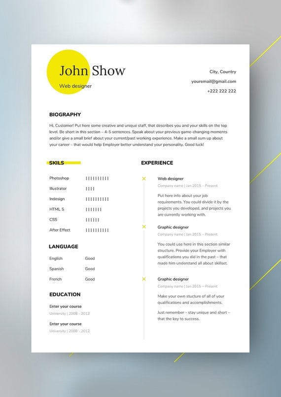Professional Resume Template Cv Template Cover Letter References Modern Resume 1 2 3 Page Resume Word Resume Minimalist Resume