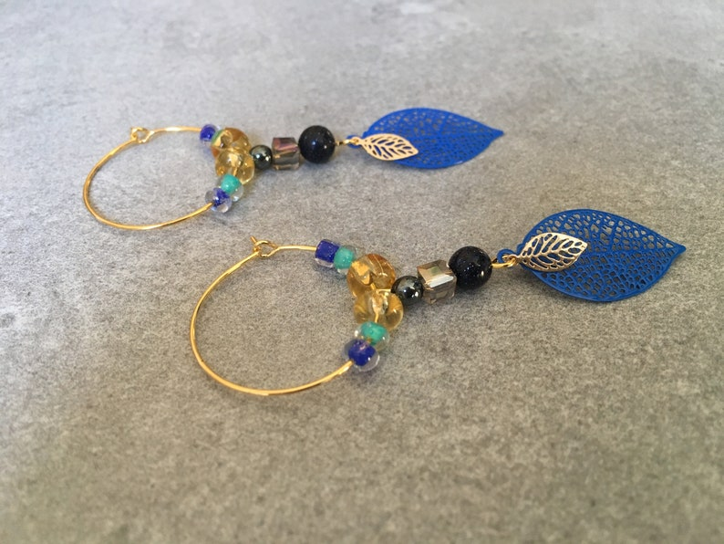 Gold leaf hoop earrings Navy Blue and gold and turquoise beads and topaz