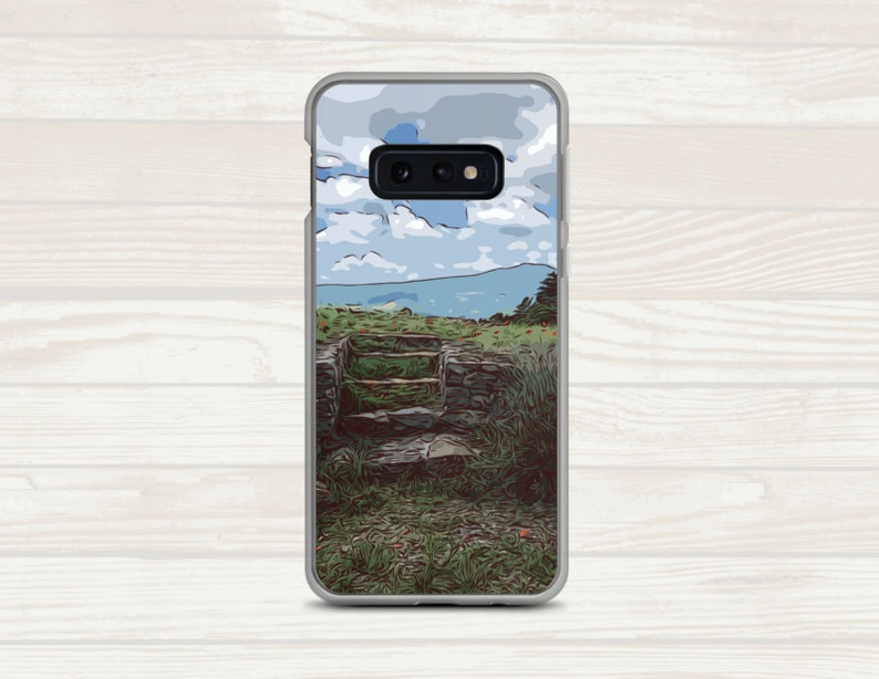 Outdoor Travel Steps Green Blue Galaxy Phone Case Field Stones PAT0079 Mountain