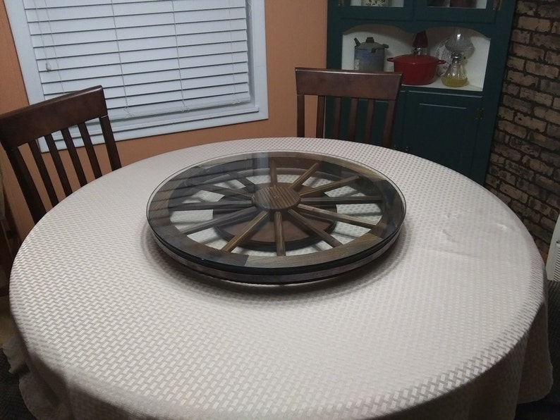 Wooden Wagon Wheel Lazy Susan 24 Inch With Tempered Glass Top