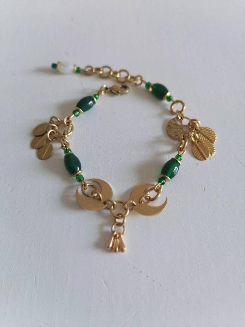 Moon phases bracelet Green crystal bracelet gift for her explore now