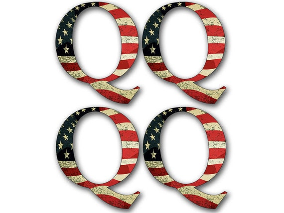 4-PACK Small 1.5 Inch Q Shaped American Flag Stickers cell laptop qanon trump