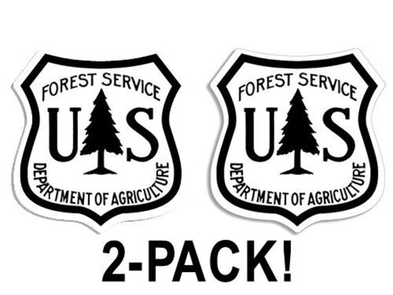 American Vinyl Brown /& White US Forestry Shield Shaped Sticker Logo Forest Service u.s.