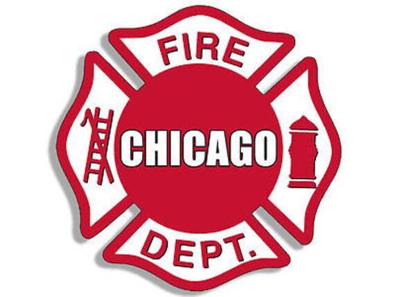 4x4 Inch Chicago Fire Dept Maltese Shaped Sticker Logo Etsy