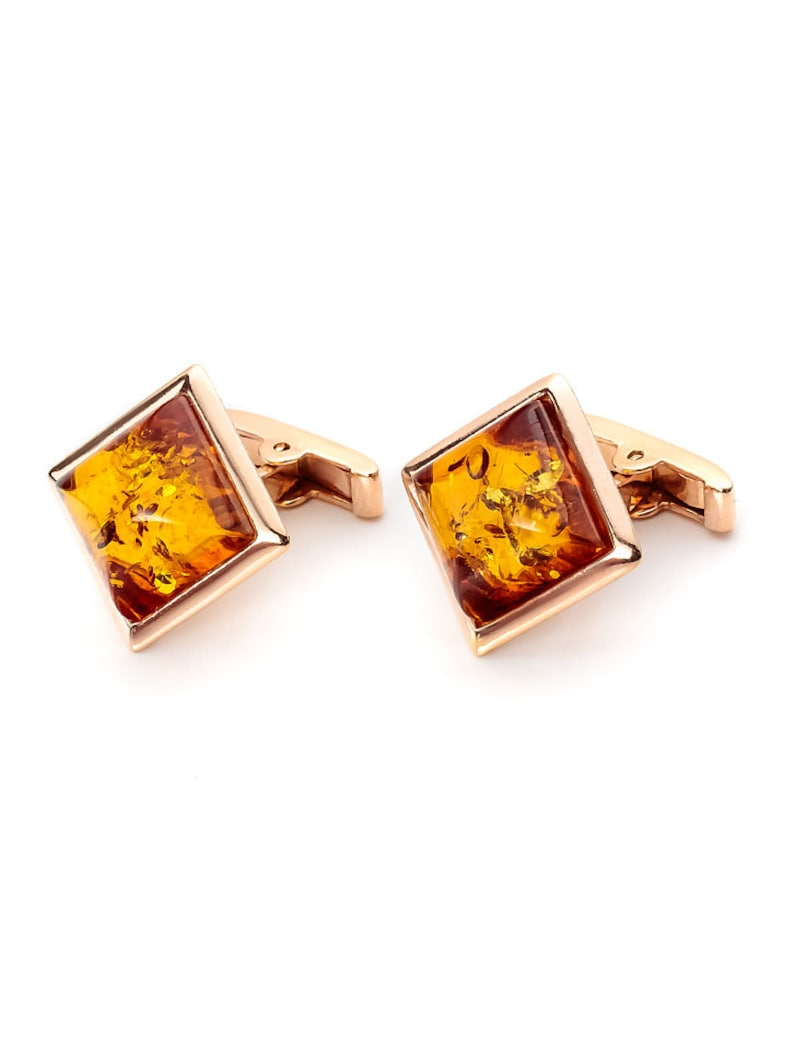 handmade decorated with natural solid amber cognac-colored Square top! Cufflinks from gilded silver excellent gift wedding gift
