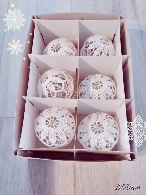 Handmade crochet christmas balls - for christmas tree, christmas decoration, white balls, cotton yarn, lace, rustic decoration, set, gift