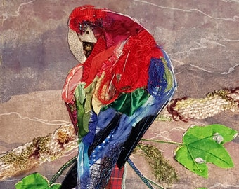 Parrot, Bird Picture, Original Art, Handsewn, Textile collage, Fabric collage, Art Gift, Collage Art, Unique